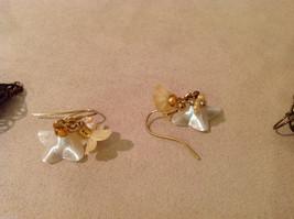 Lot of 3 pairs Floral dangling earrings, filigree metal, beads, mother of pearl image 6