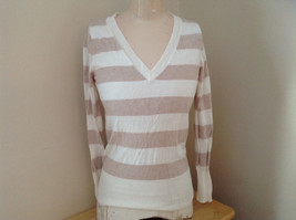 Juniors Creme Tan Striped V Neckline Long Sleeve Sweater Mossimo Size Medium