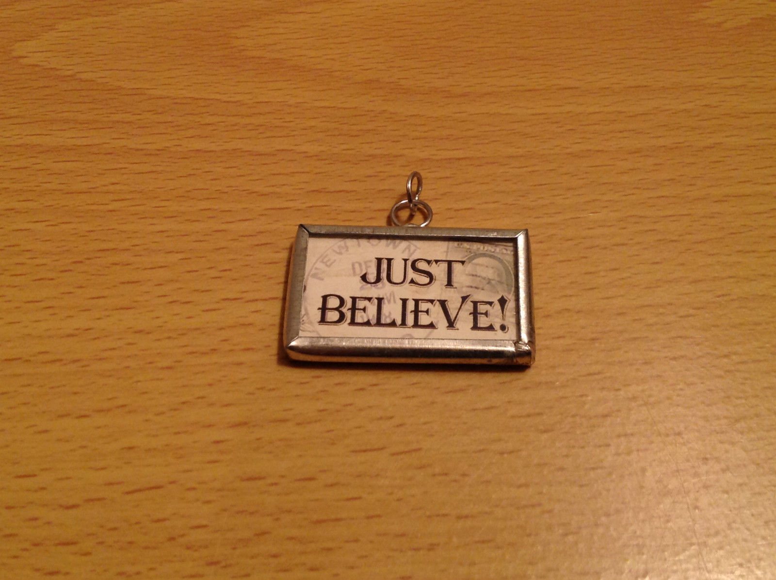 Just Believe Santa Versatile Metal and Glass Tag Charm Gift Tie On Reversible