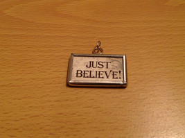 Just Believe Santa Versatile Metal and Glass Tag Charm Gift Tie On Reversible image 1