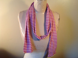 Adorable Striped Light Pink and White L.L. Bean Cloth Scarf 70 Inches Long image 2