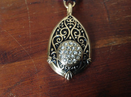 Lovely Small Clear Crystals Vintage Style Gold Tone Scarf Pendant image 2