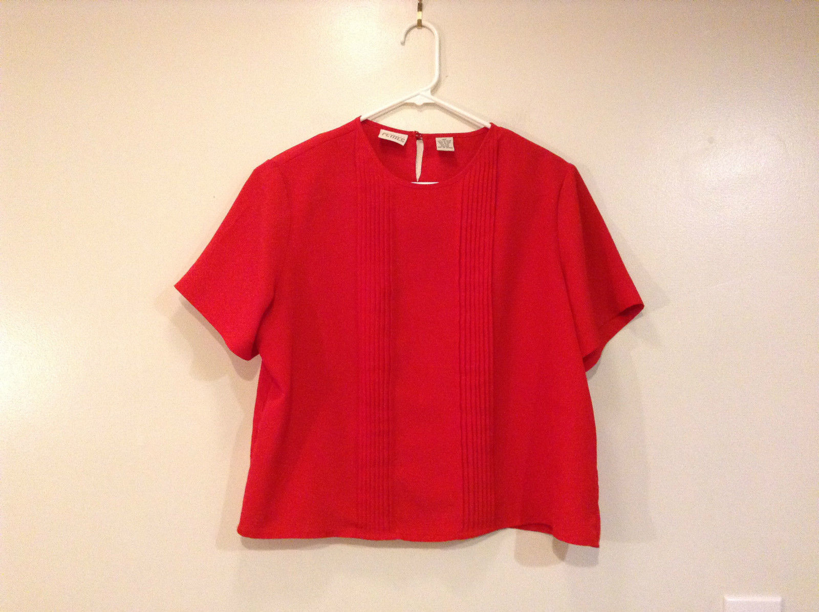 Just for Petites Red Short Sleeve Top Pleated Stripes on Front Size 14P