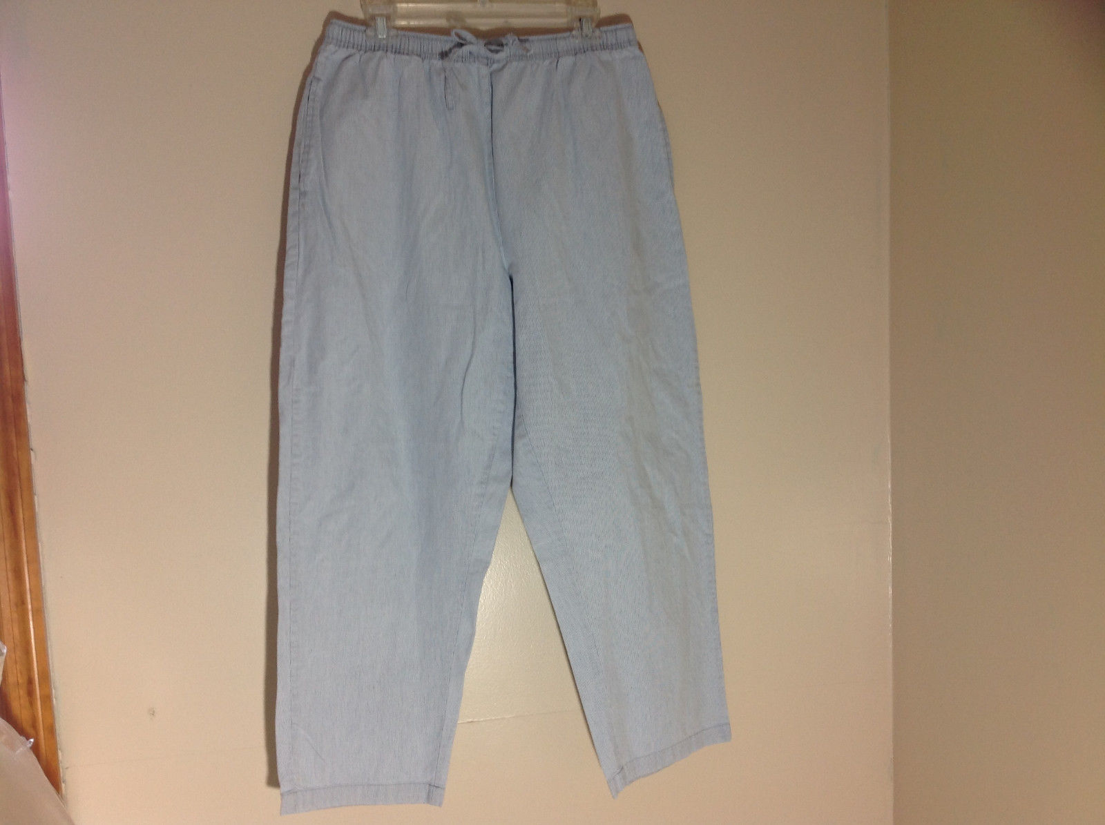 Karen Scott Blue White Pinstriped Drawstring Pants with Front Pockets Size Large