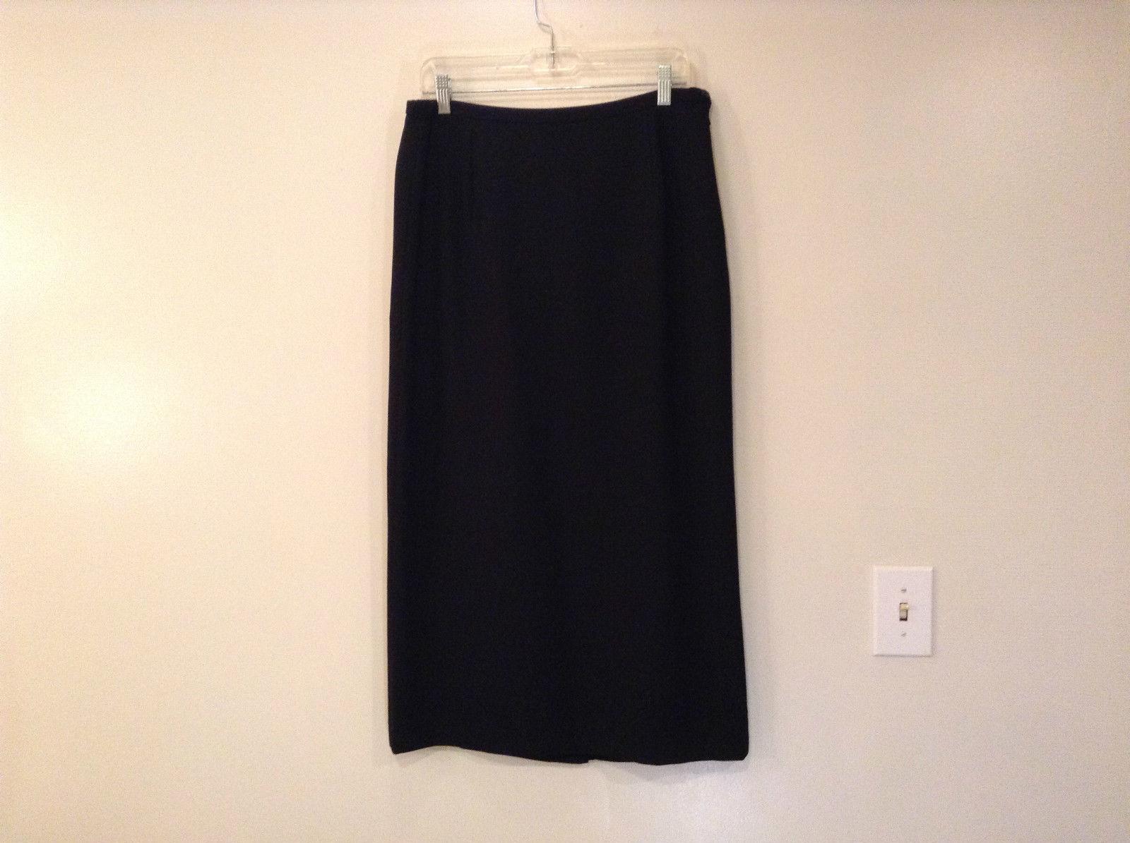 Karen Scott Black Lined Skirt Size 12 Side Zipper Back Slit No Pockets