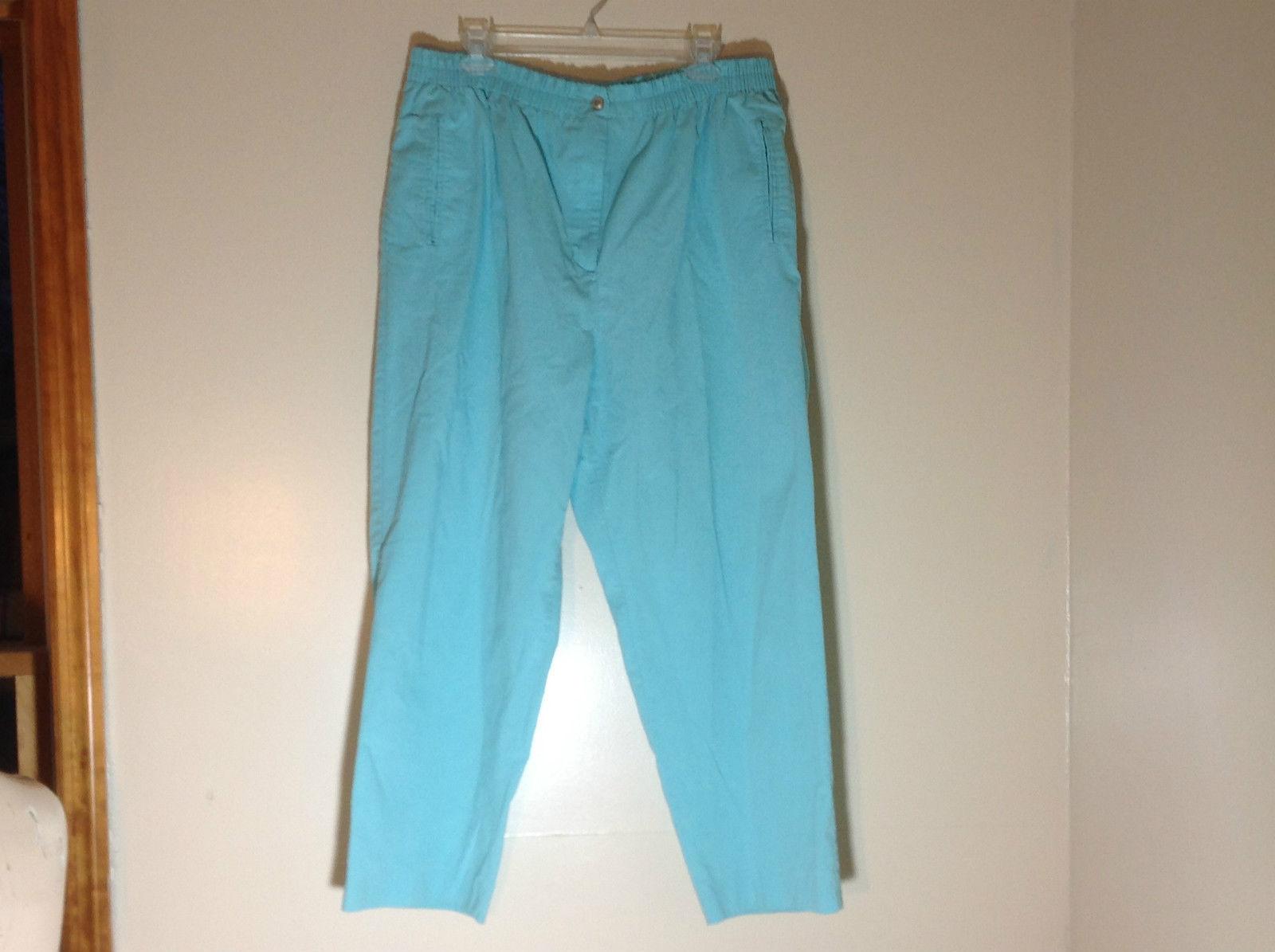 Karen Scott Light Blue Pants Elastic Waistband Zipper and Button Closure Size 18