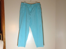 Karen Scott Light Blue Pants Elastic Waistband Zipper and Button Closure Size 18