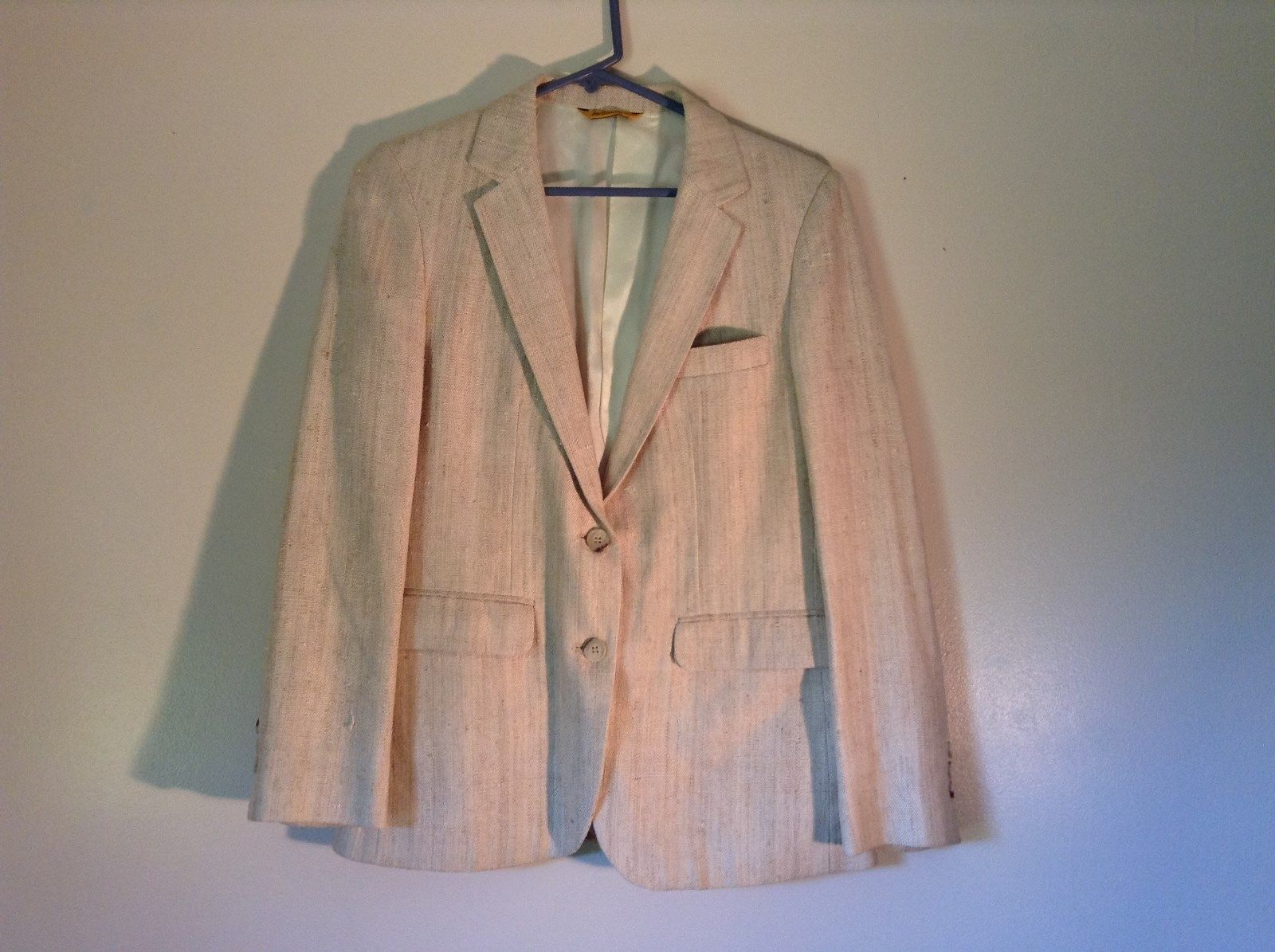 Justin LTD White 100 Percent Silk Two Button Closure Blazer Measurements Below