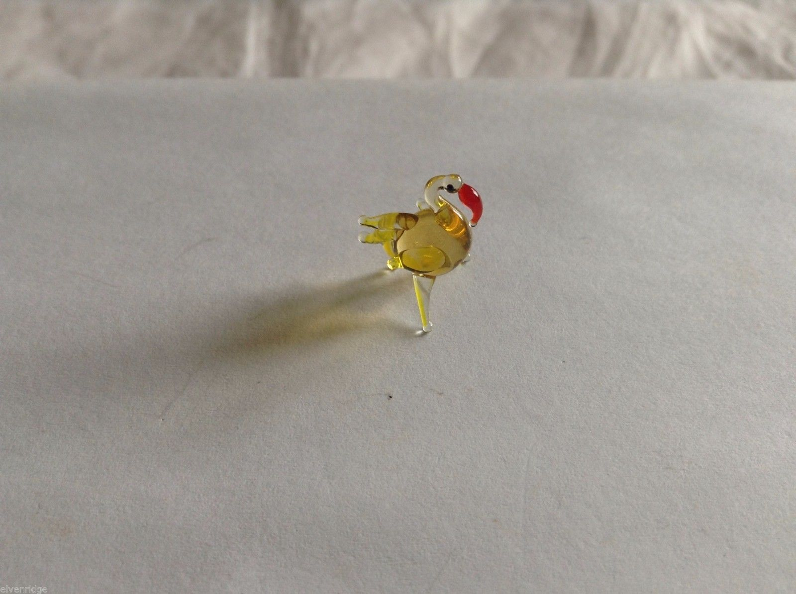 Micro Miniature small hand blown glass made USA NIB  yellow flamingo