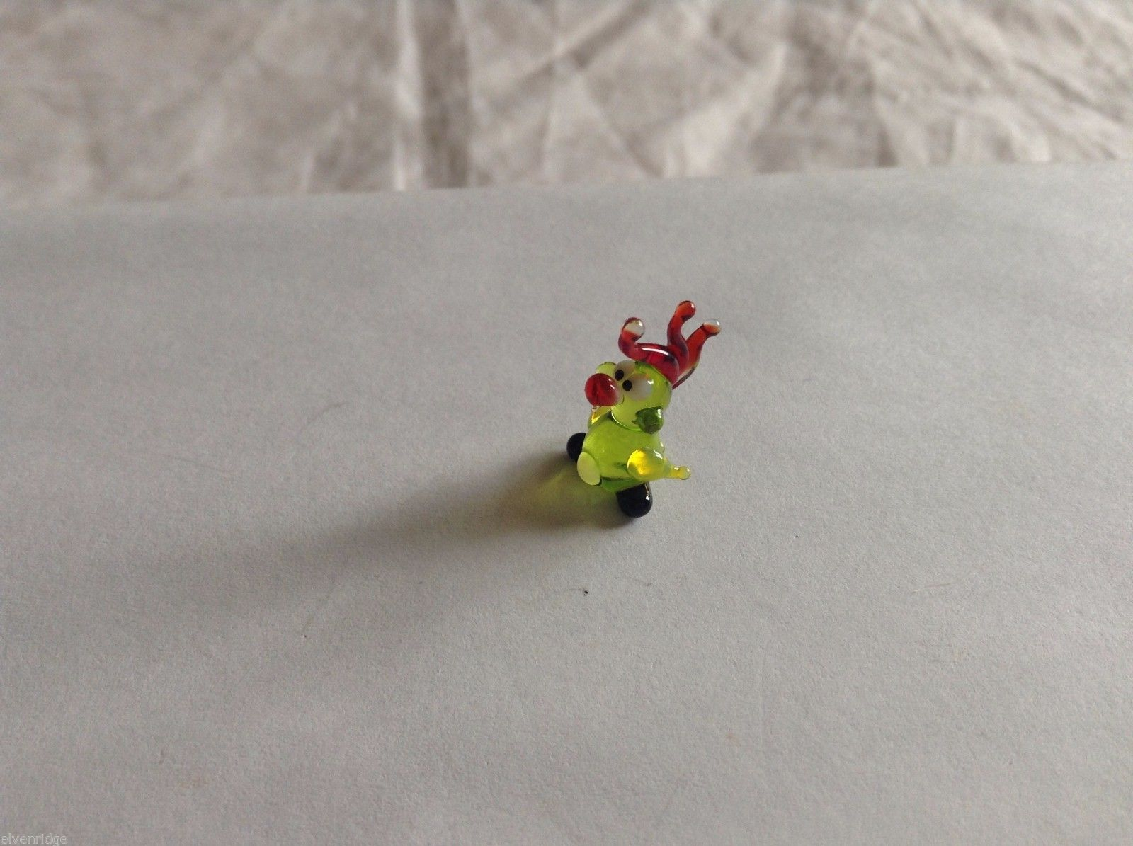 Micro Miniature small hand blown glass made USA NIB yellow green cockatoo