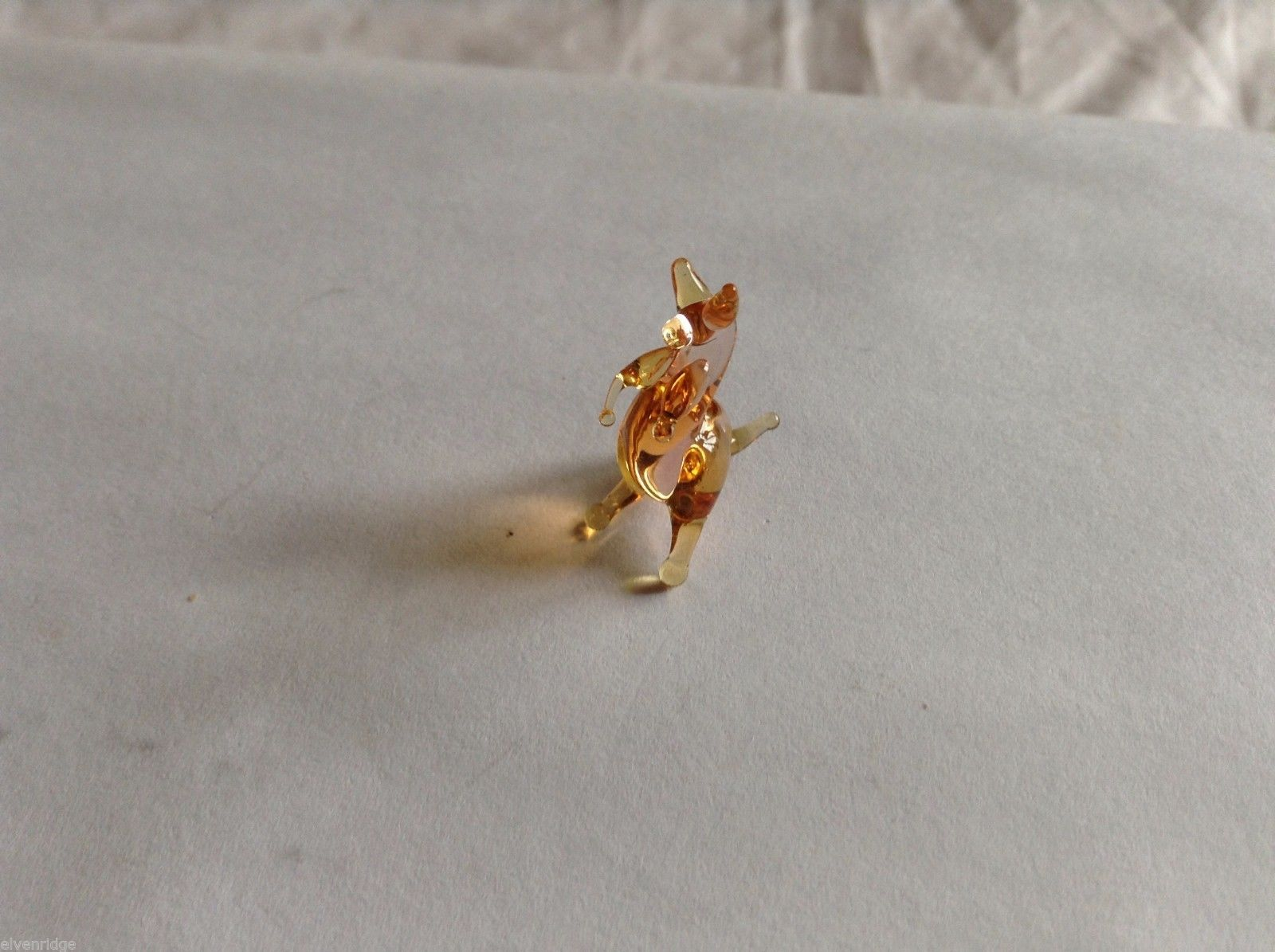 Micro Miniature small hand blown glass made USA amber colored kangaroo
