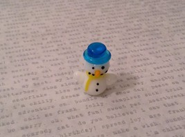 Micro miniature hand blown glass Snowman With Blue Hat Christmas  USA NIB
