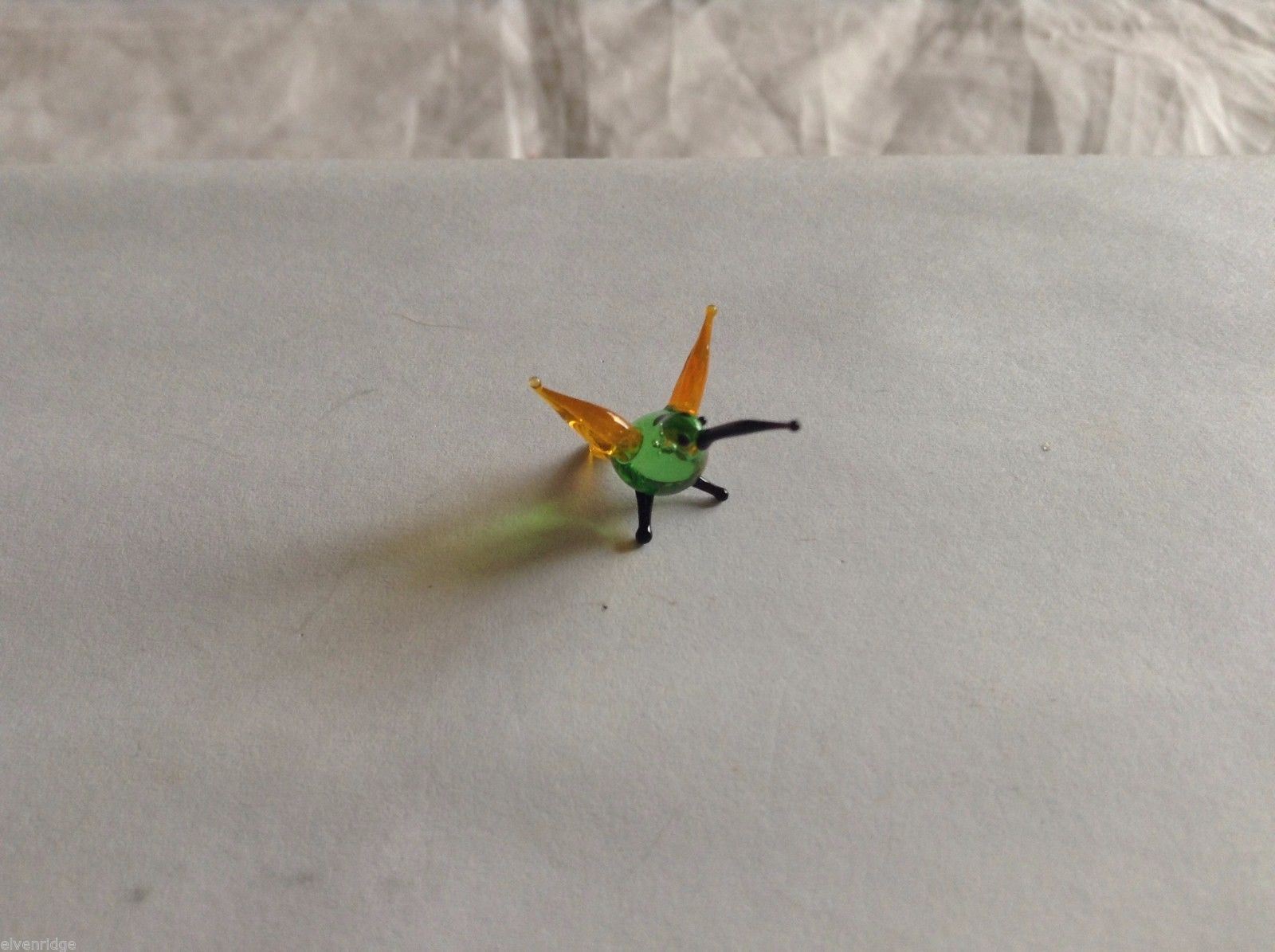Micro Miniature small hand blown glass made USA NIB yellow & green hummingbird