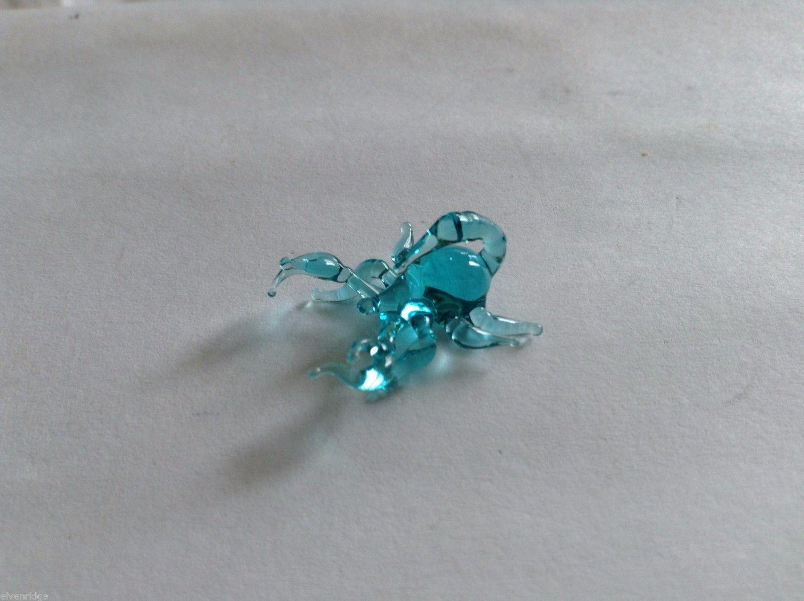 Micro Miniature small hand blown glass made USA blue scorpion