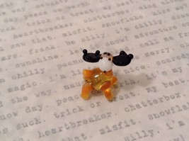 Micro miniature hand blown glass figurine USA tiny amber moose   NIB