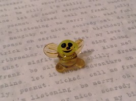 Micro miniature hand blown glass figurine USA smiling yellow honeybee NIB image 1