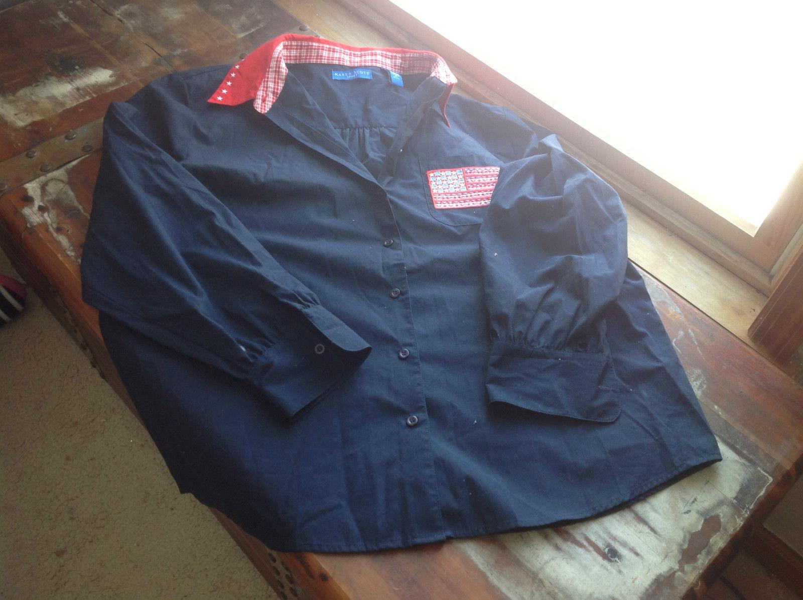 Karen Scott Sport Long Sleeve Blue Shirt with American Flag on Pocket Size XL