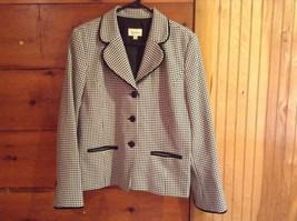 Karinna White and Black Print Black Accent Blazer Suit Jacket Size 14