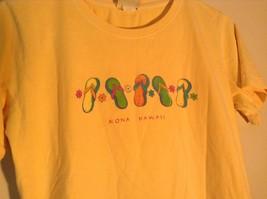 ICantoo Casual Wear Yellow Short Sleeve T Shirt Kona Hawaii Flip Flops Size S image 2