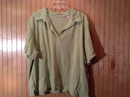Kate Hill Short Sleeve Light Green V Neck Collared Top Size 3X