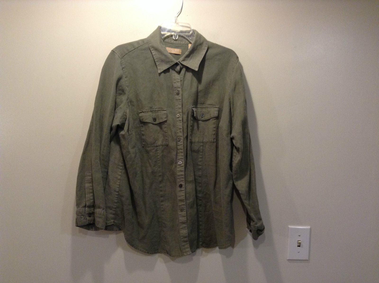 Kate Hill Woman Green Light Button Front Jacket 100 Percent Linen Size 2X