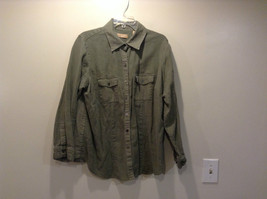 Kate Hill Woman Green Light Button Front Jacket 100 Percent Linen Size 2X