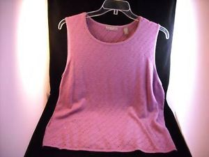 Kate Hill Purple Knit & Beaded Sleeveless Top Size 2X