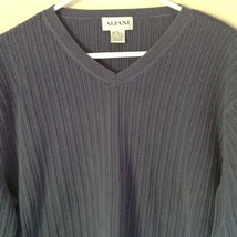 Alfani Size XL Long Sleeve V Neck Blue Sweater 100 Percent Cotton image 2