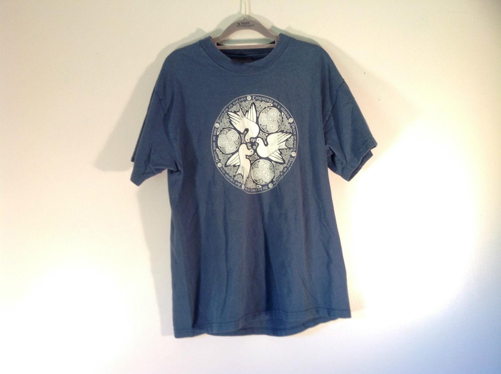 Keltic Designs Size L Short Sleeve Teal T Shirt 100 Percent Cotton White Birds