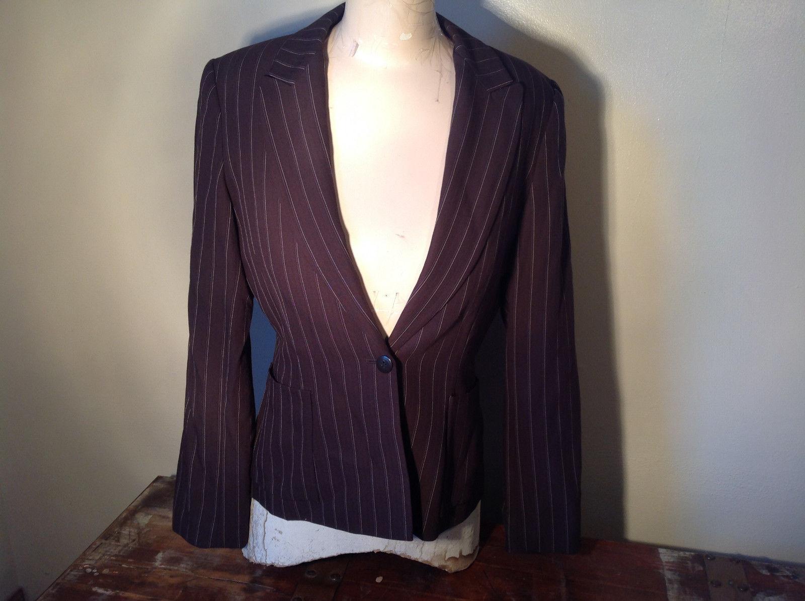 Kenar Dark Brown White Stripes 2 Front Pockets 1 Button Closure Blazer Size 4