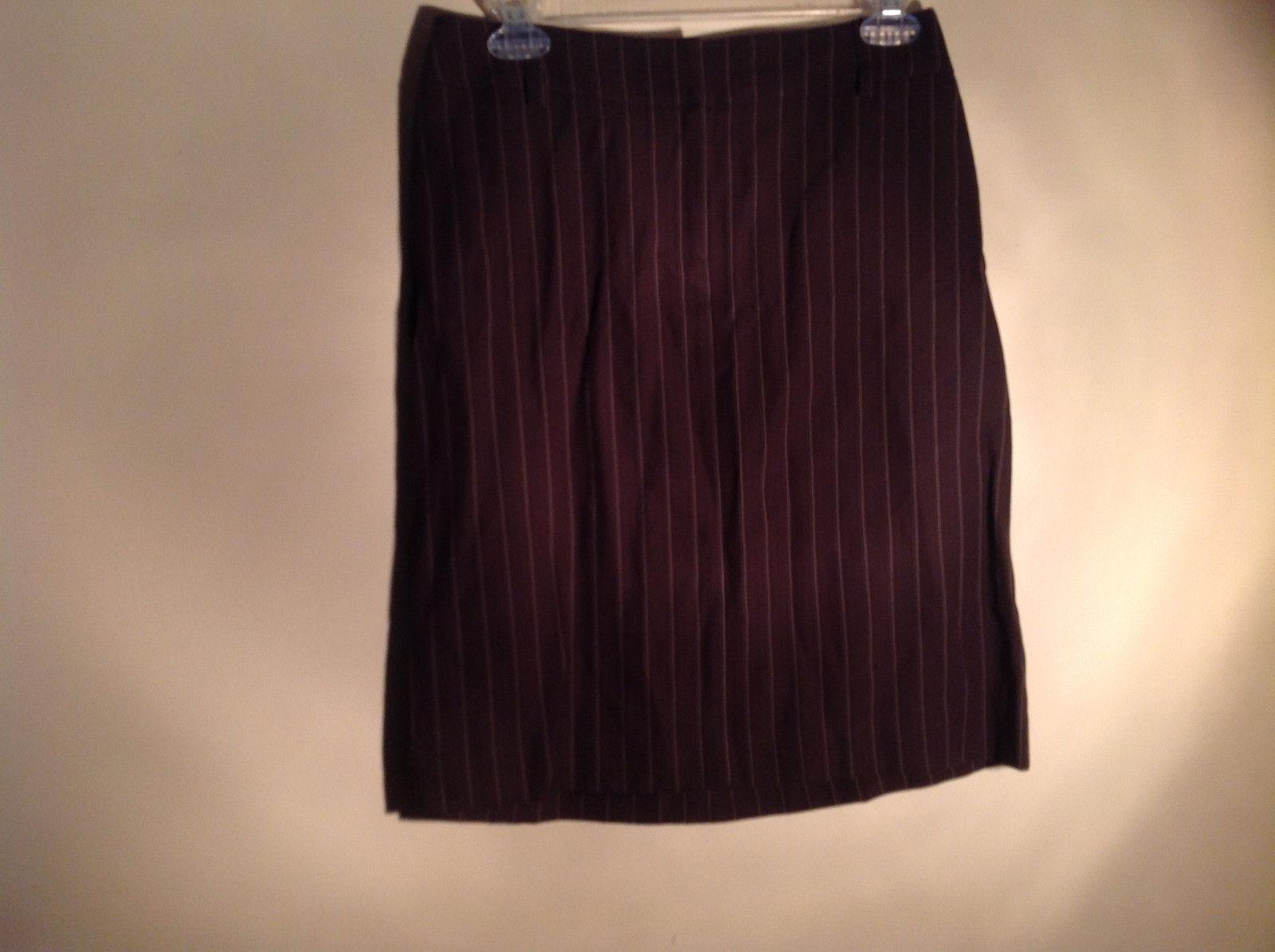 Kenar Brown with Pink Stripes Skirt Back Zipper Closure Belt Loops Size 4