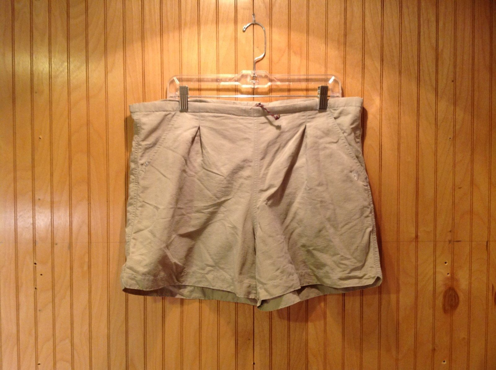 Khaki Athletic Shorts Adjustable Waist Netting Inside Pockets Measurements Below