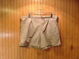 Khaki Athletic Shorts Adjustable Waist Netting Inside Pockets Measurements Below image 1