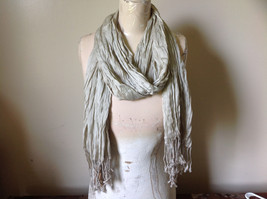 Khaki Colored Scrunched Style Silk Blend Scarf by Look Tags Attached Tasseled