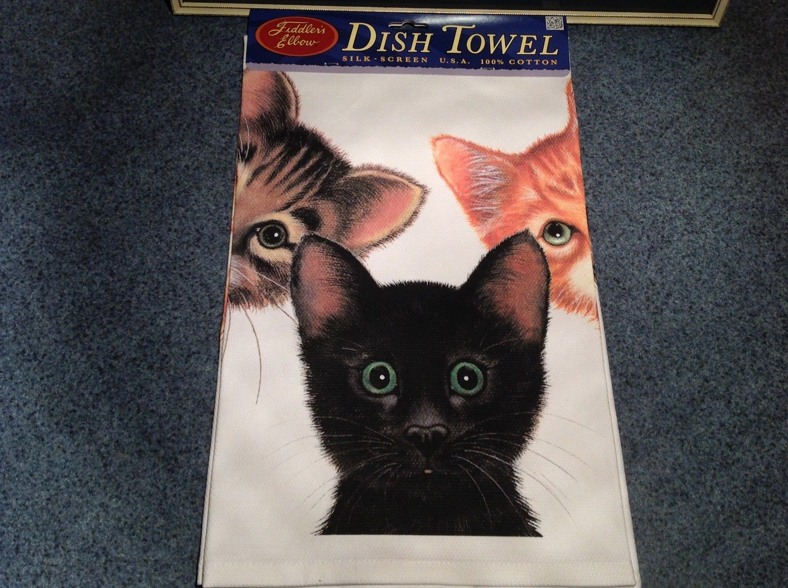 Kitchen Cotton Towel Profile Made in USA Kittens Black Orange and Tabby