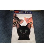 Kitchen Cotton Towel Profile Made in USA Kittens Black Orange and Tabby - $39.99