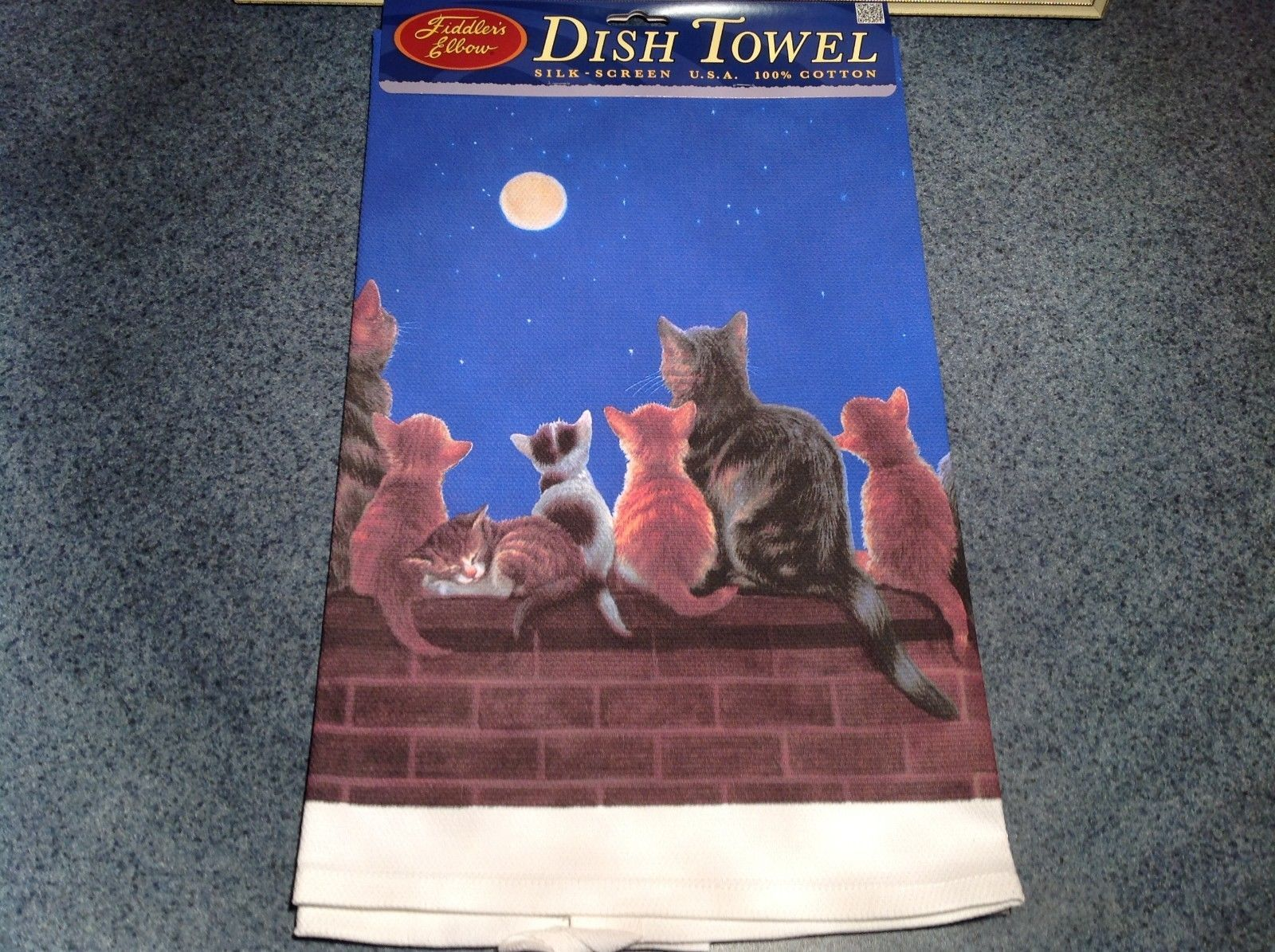 Kitchen Cotton Towel Profile Evening Cats Considering the Full Moon