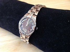 Luxe Stainless Steel Back Bronze Tone Round Face Watch Small Clasp Closure image 3