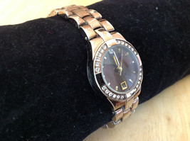 Luxe Stainless Steel Back Bronze Tone Round Face Watch Small Clasp Closure image 2