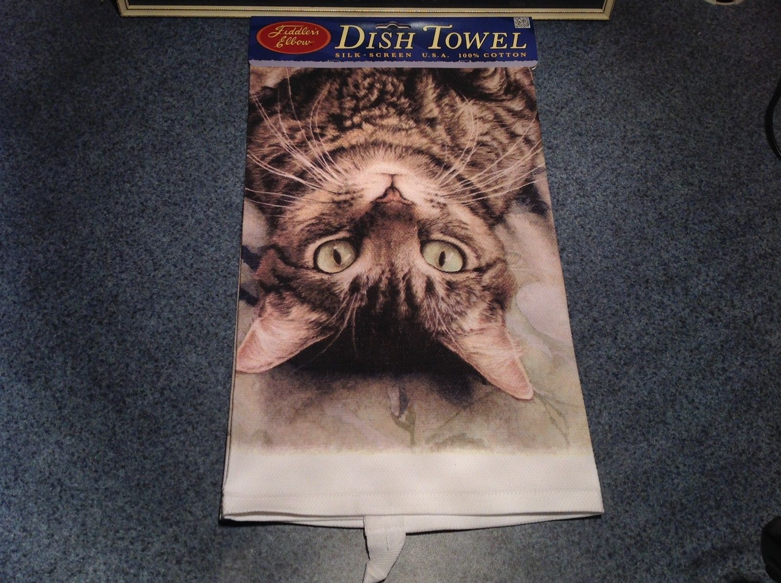 Kitchen Cotton Towel Standard Brown Tabby Cat Lying Down Profile Made in USA