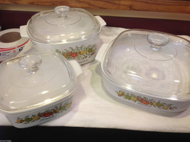 Kitchen ware w vegetable pattern 3 casseroles lids pan coffee pot vintage