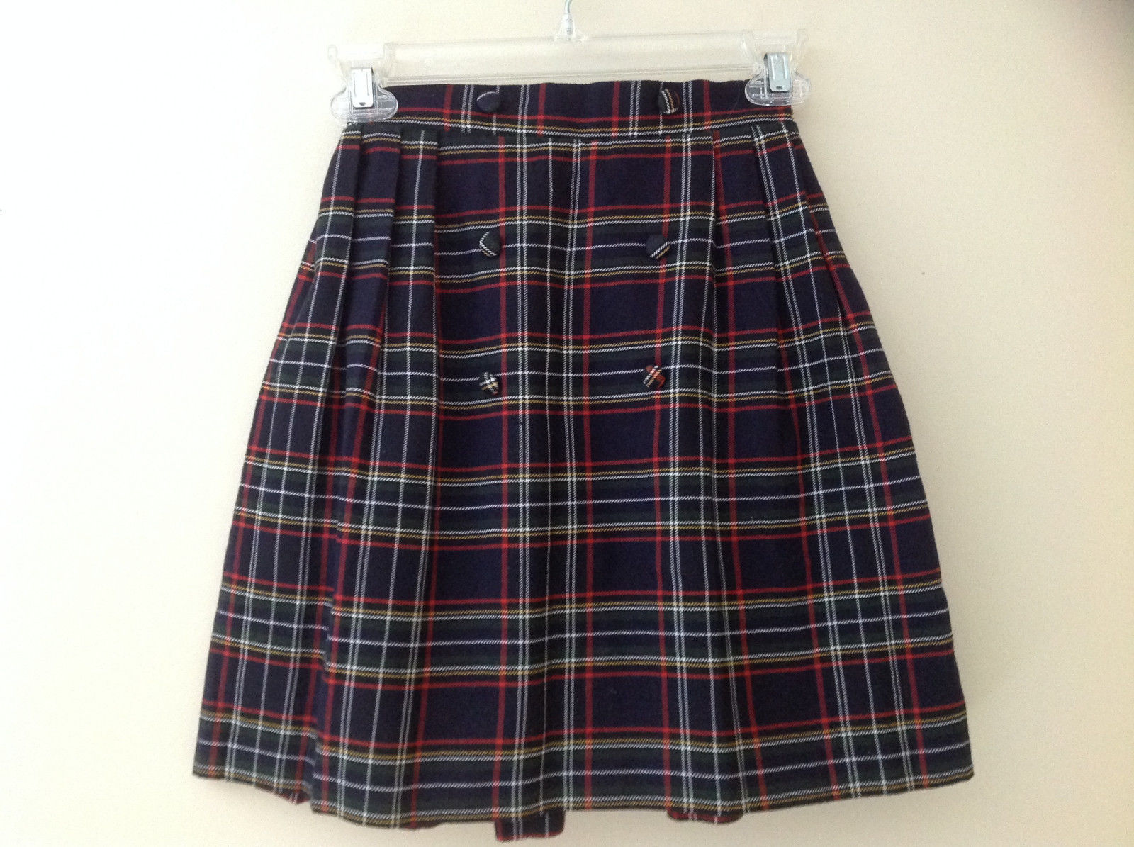 Knee Length Navy Red Plaid Buttoned Skirt Double Rows of Buttons Size S/M