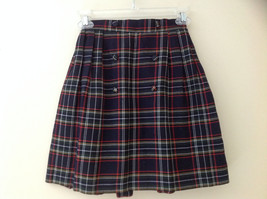 Knee Length Navy Red Plaid Buttoned Skirt Double Rows of Buttons Size S/M image 1