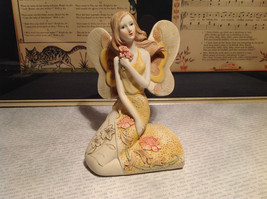 Kneeling Angel Holding Flowers Mira Flora Handcrafted Resin Angel Figurine - $39.99