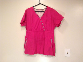 Koi Kathy Peterson Bright Pink V Neck Short Sleeve Uniform Top Size 2X