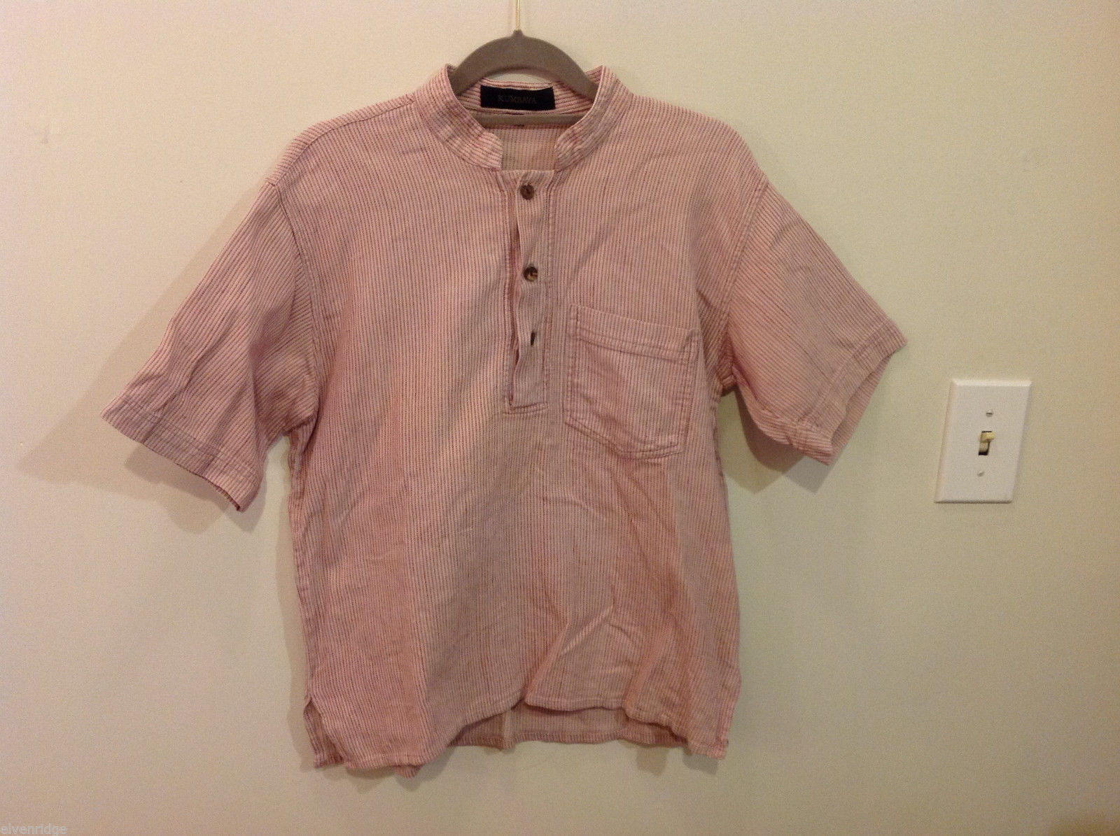 Kumbaya Mens short sleeve casual shirt multicolored stripes, size 40