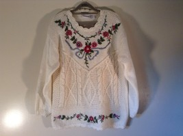 Knitted by Hand Bobbie Brooks White Sweater with Floral Pattern Size Large