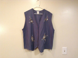 Koret Blue Gray Wool Vest V Neck Decorative Flowers Embroidery on Front Size 2X