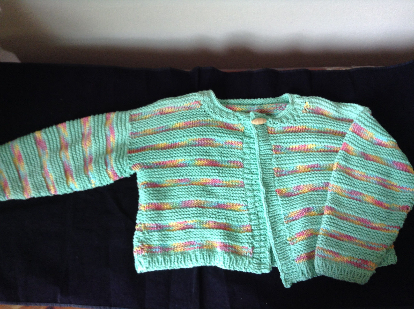 Knitted Sweater with Long Sleeves Green Yellow Pink Blue Striped Button on Top