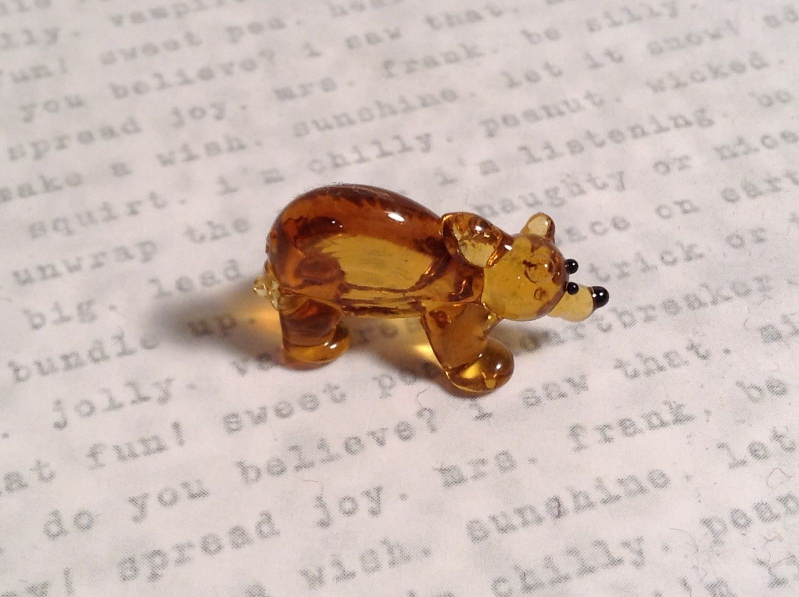 Micro miniature small hand blown glass amber bear USA made